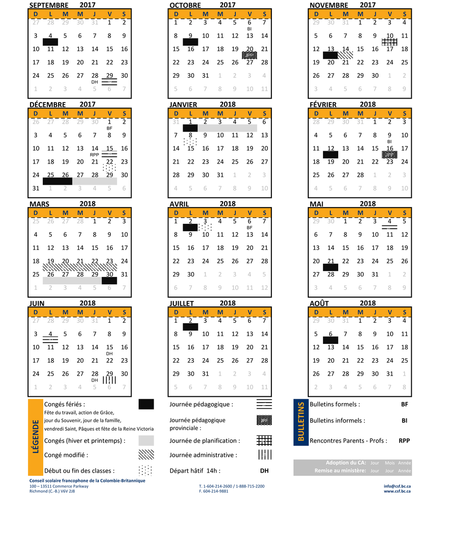 calendrier scolaire a montreal